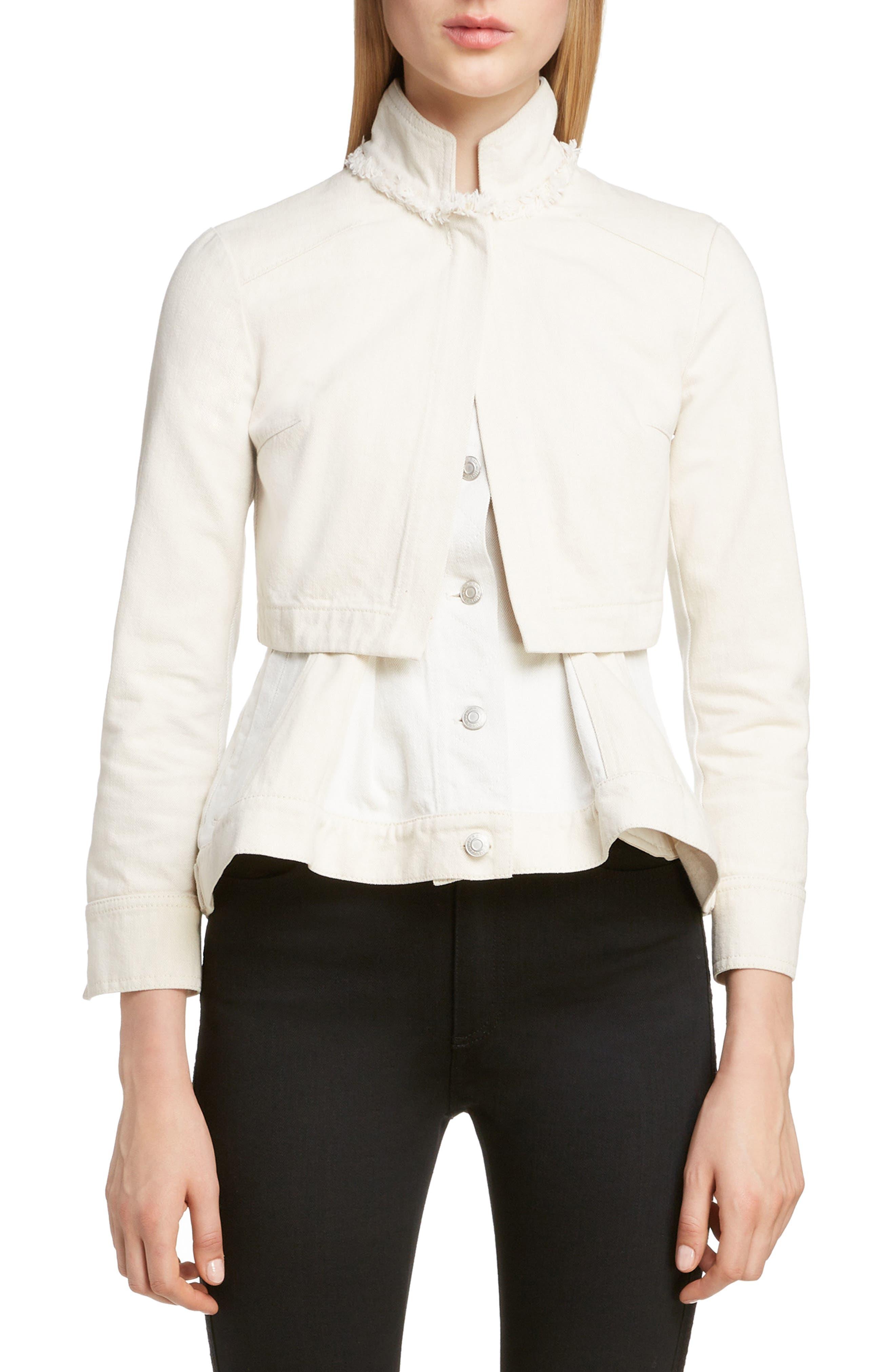 Peplum Denim Jacket, Main, color, ECRU