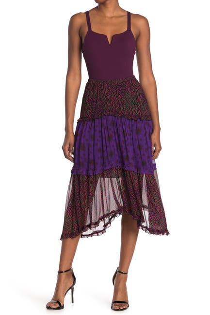 Image of ba&sh Gapi Patchwork Fabric Midi Skirt