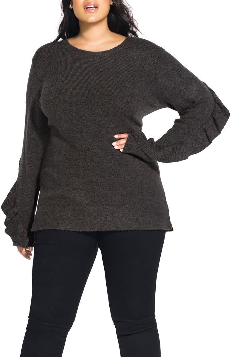 CITY CHIC Flirt Frill Long Sleeve Sweater, Main, color, 020