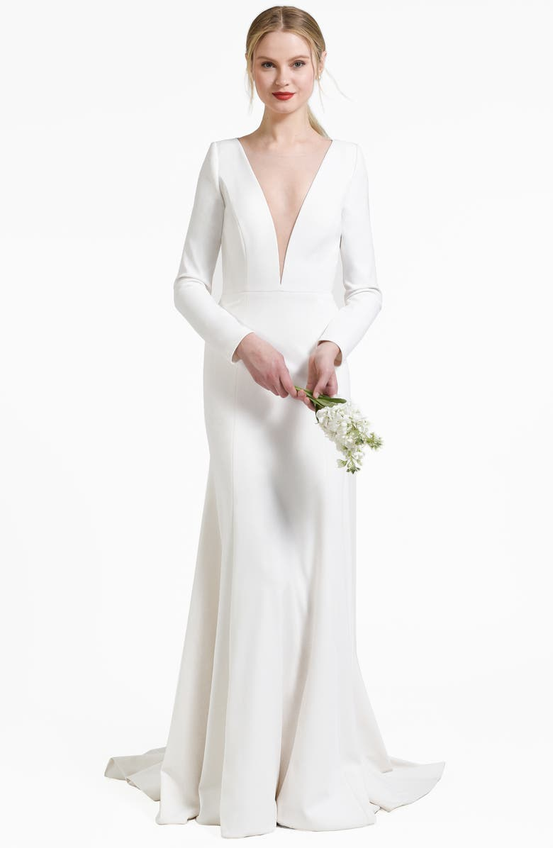 JENNY BY JENNY YOO Blythe Plunging Crepe Gown, Main, color, IVORY1