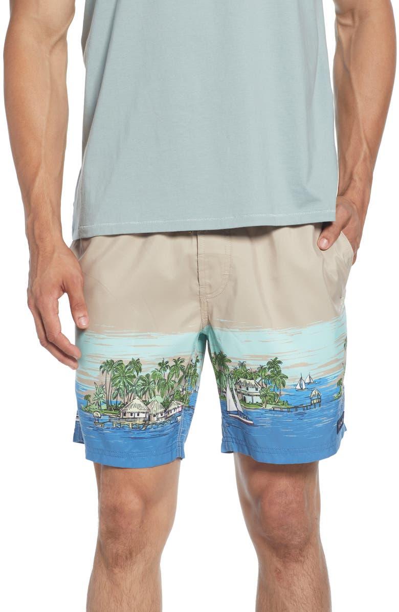 BARNEY COOLS Poolside Ocean Print Drawstring Shorts, Main, color, TAN VACATION