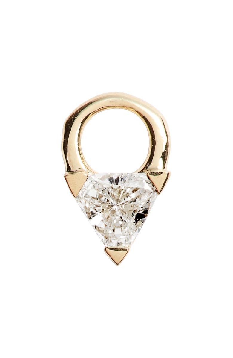 MARIA TASH Diamond Trillion Earring Charm, Main, color, YELLOW GOLD