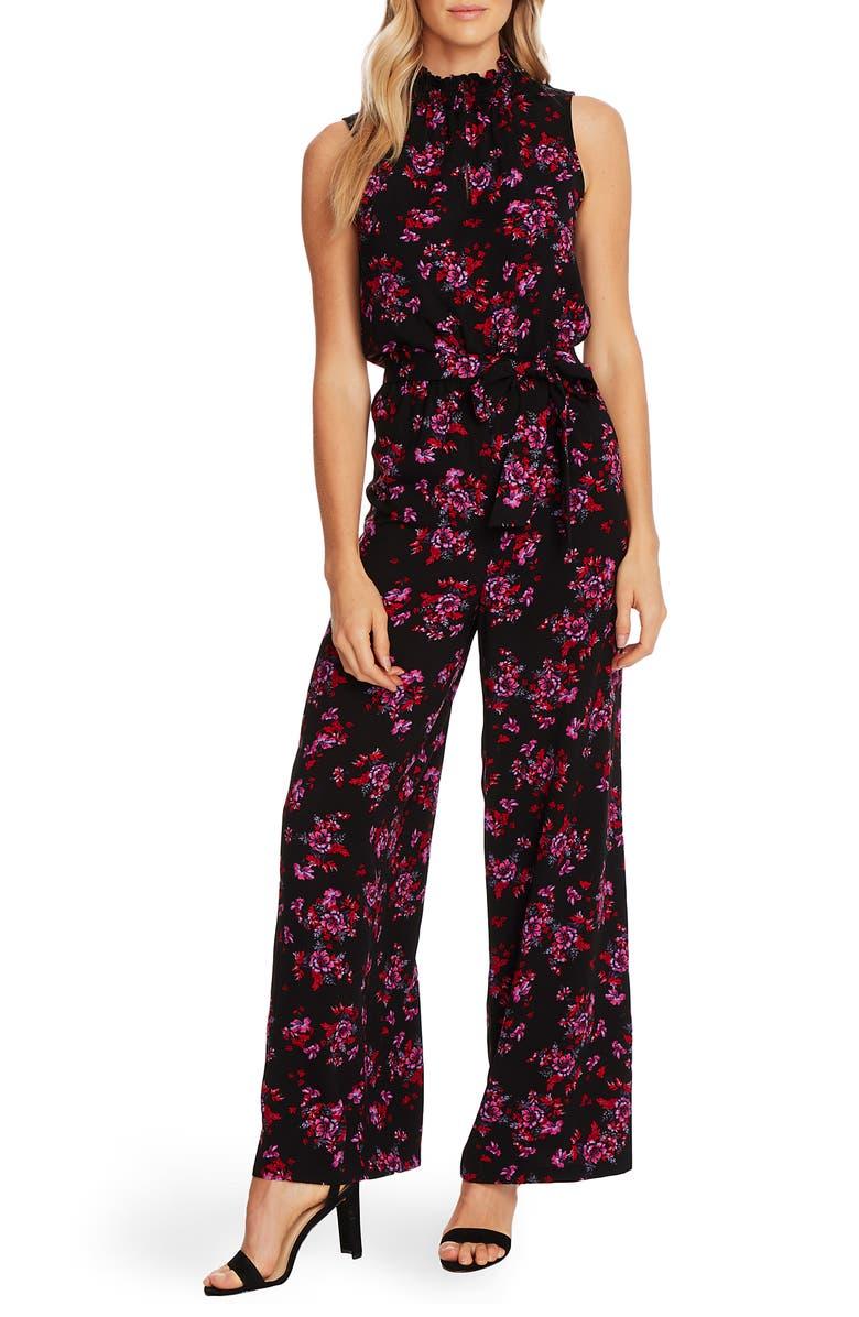 CECE Romantic Mystic Floral Jumpsuit, Main, color, RICH BLACK