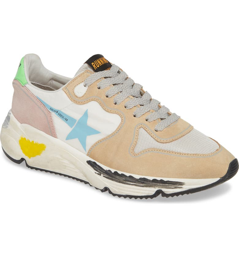 GOLDEN GOOSE Running Sole Sneaker, Main, color, WHITE/ TAN/ BLUE