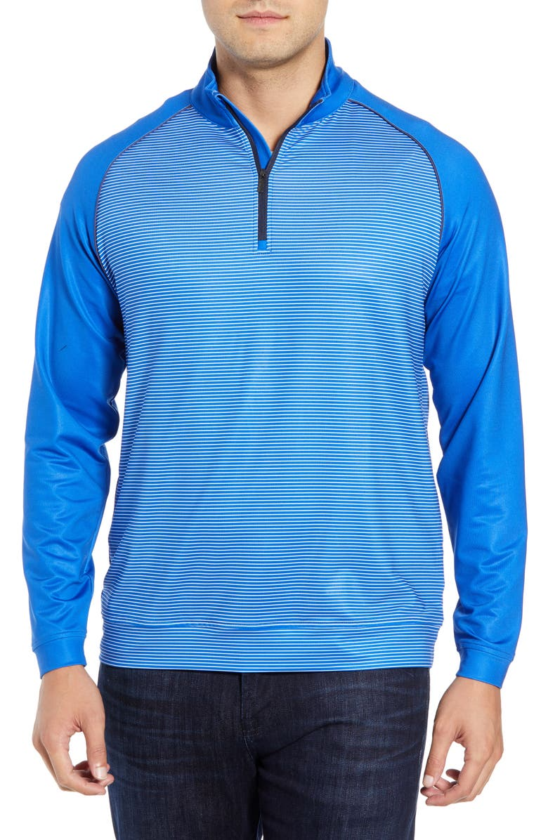 BUGATCHI Regular Fit Stripe Quarter Zip Pullover, Main, color, CLASSIC BLUE