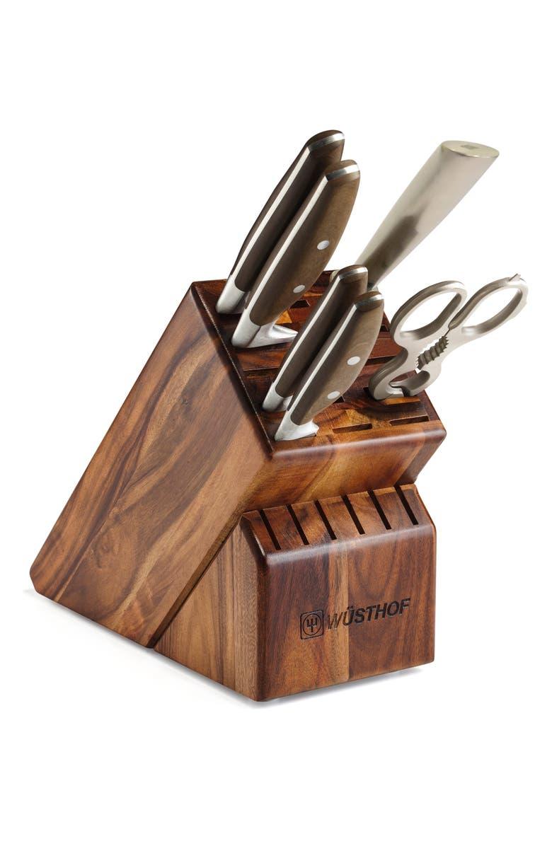 WÜSTHOF Epicure 7-Piece Knife Block Set, Main, color, BROWN