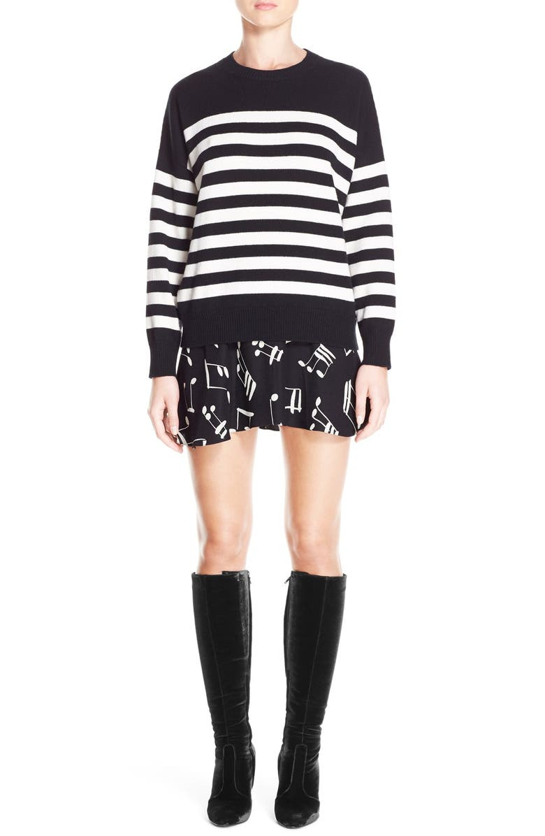 SAINT LAURENT Stripe Cashmere Sweater, Main, color, 010