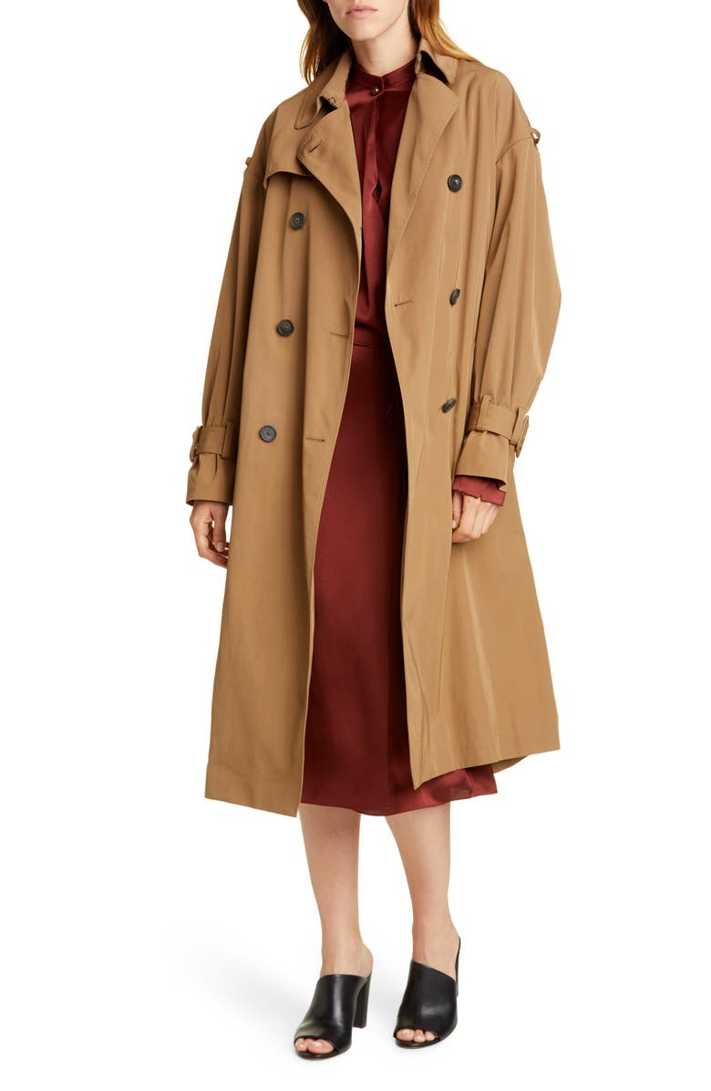 VINCE Belted Technical Trench Coat, Main, color, TAPENADE