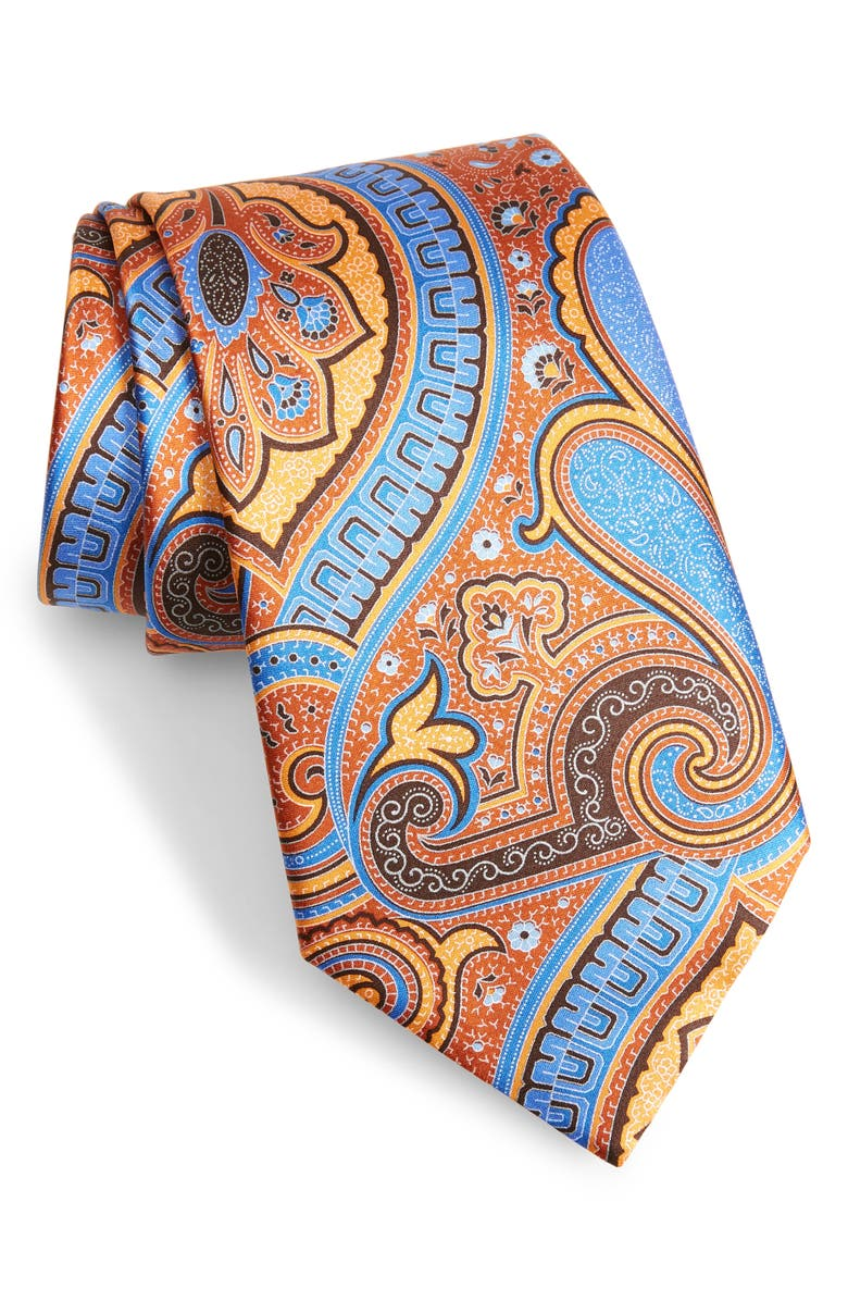ERMENEGILDO ZEGNA Paisley Silk Tie, Main, color, ORANGE