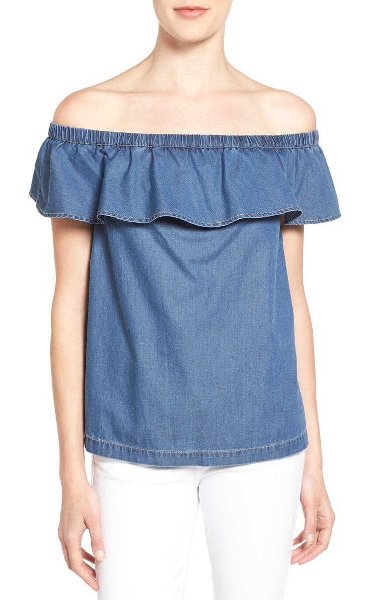 CHELSEA28 Off the Shoulder Chambray Top, Main, color, 420