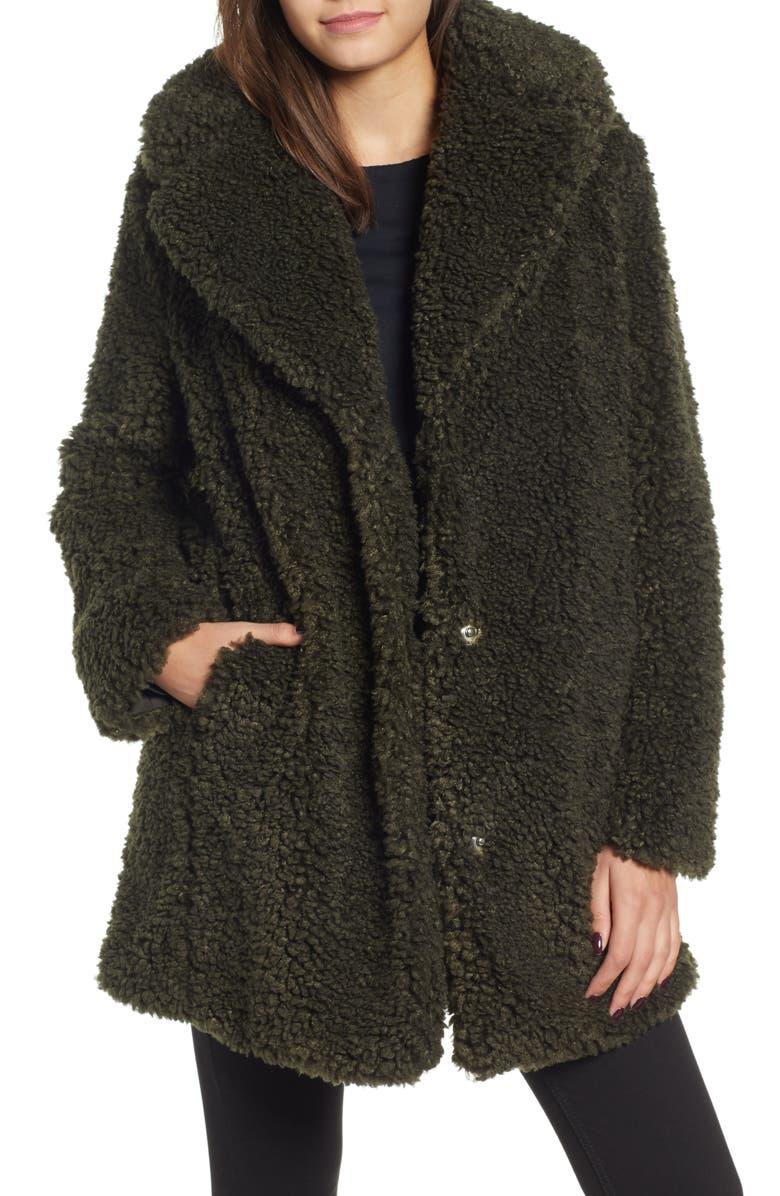KENSIE Faux Shearling Coat, Main, color, 300