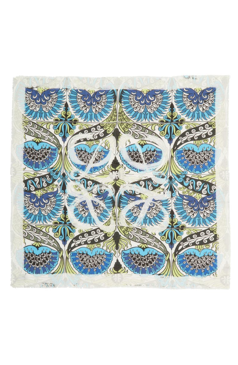 LOEWE Flowers Anagram Modal & Cashmere Scarf, Main, color, BLUE/ GREEN/ WHITE