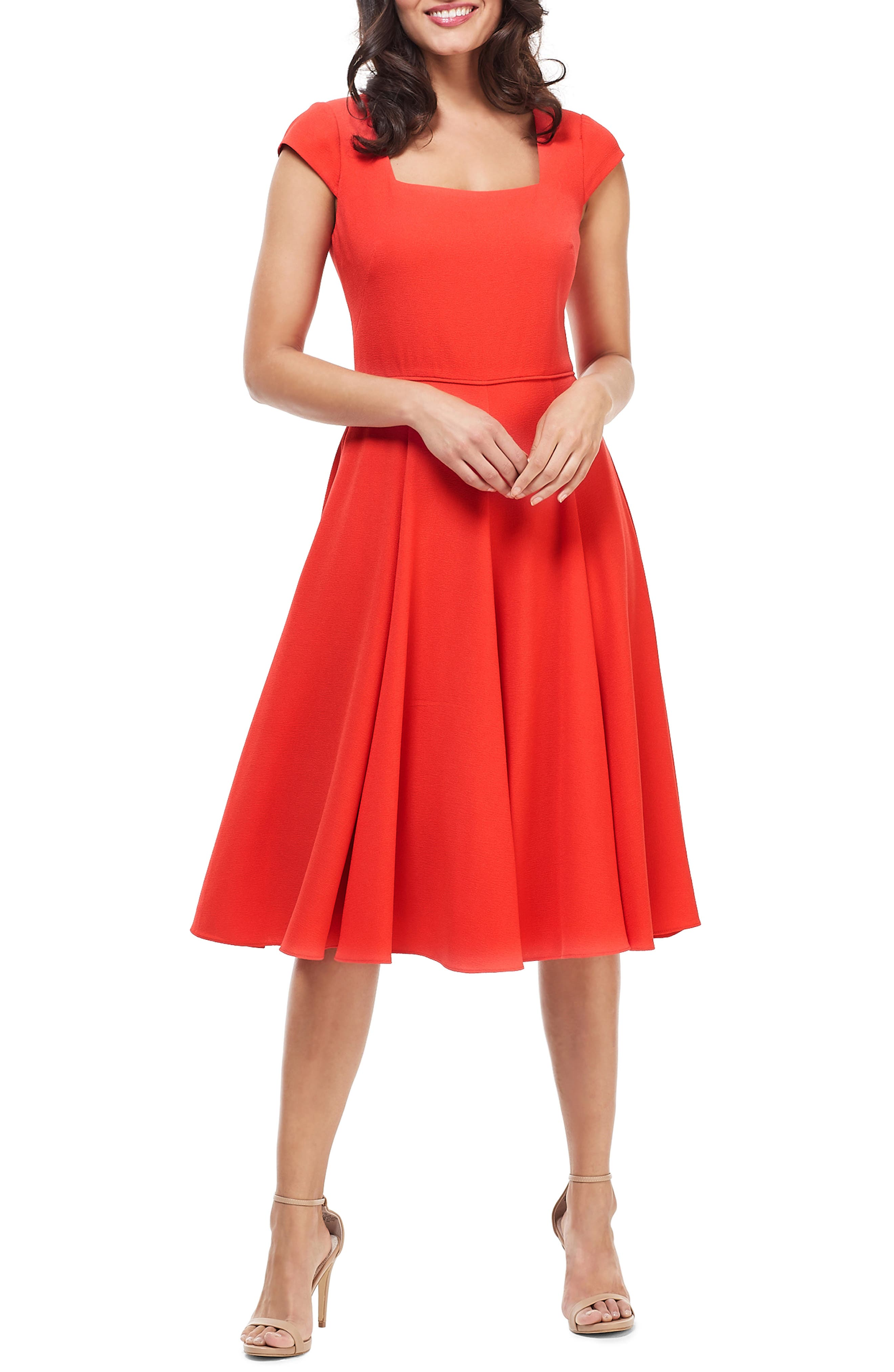 Gal Meets Glam Collection Regina Square Neck Fit & Flare Dress, Red