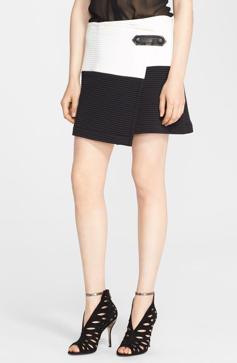 ALICE + OLIVIA 'Lennon' Leather Trim Ottoman Stitch Skirt, Main, color, 120
