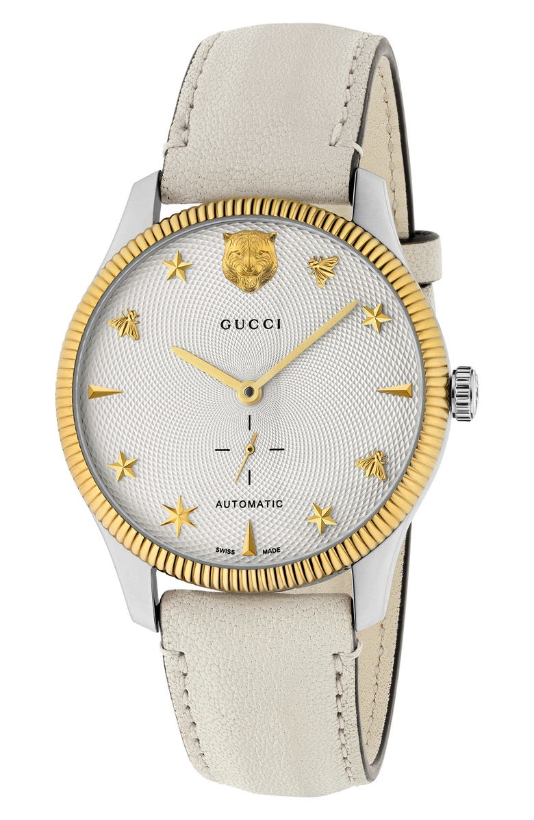 GUCCI G-Timeless Leather Strap Watch, 40mm, Main, color, WHITE/ SILVER/ GOLD