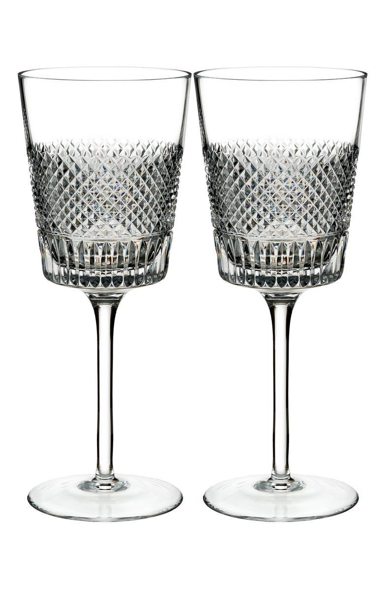WATERFORD Diamond Line Set of 2 Lead Crystal Wine Glasses, Main, color, CRYSTAL