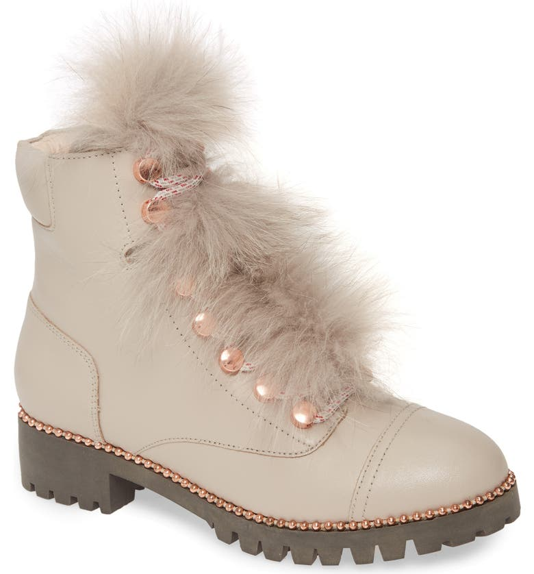 CECELIA NEW YORK Trekker Boot with Genuine Fox Fur Trim, Main, color, 020