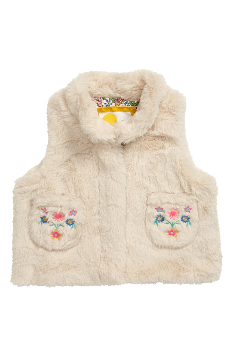 MINI BODEN Cozy Faux Fur Vest, Main, color, NEU NATURAL