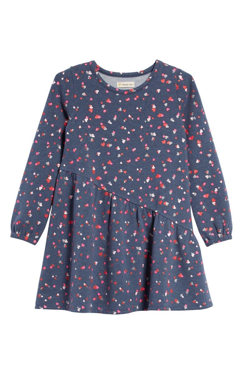 TUCKER + TATE Heart Print Fleece Dress, Main, color, NAVY DENIM HEATHER HEARTS