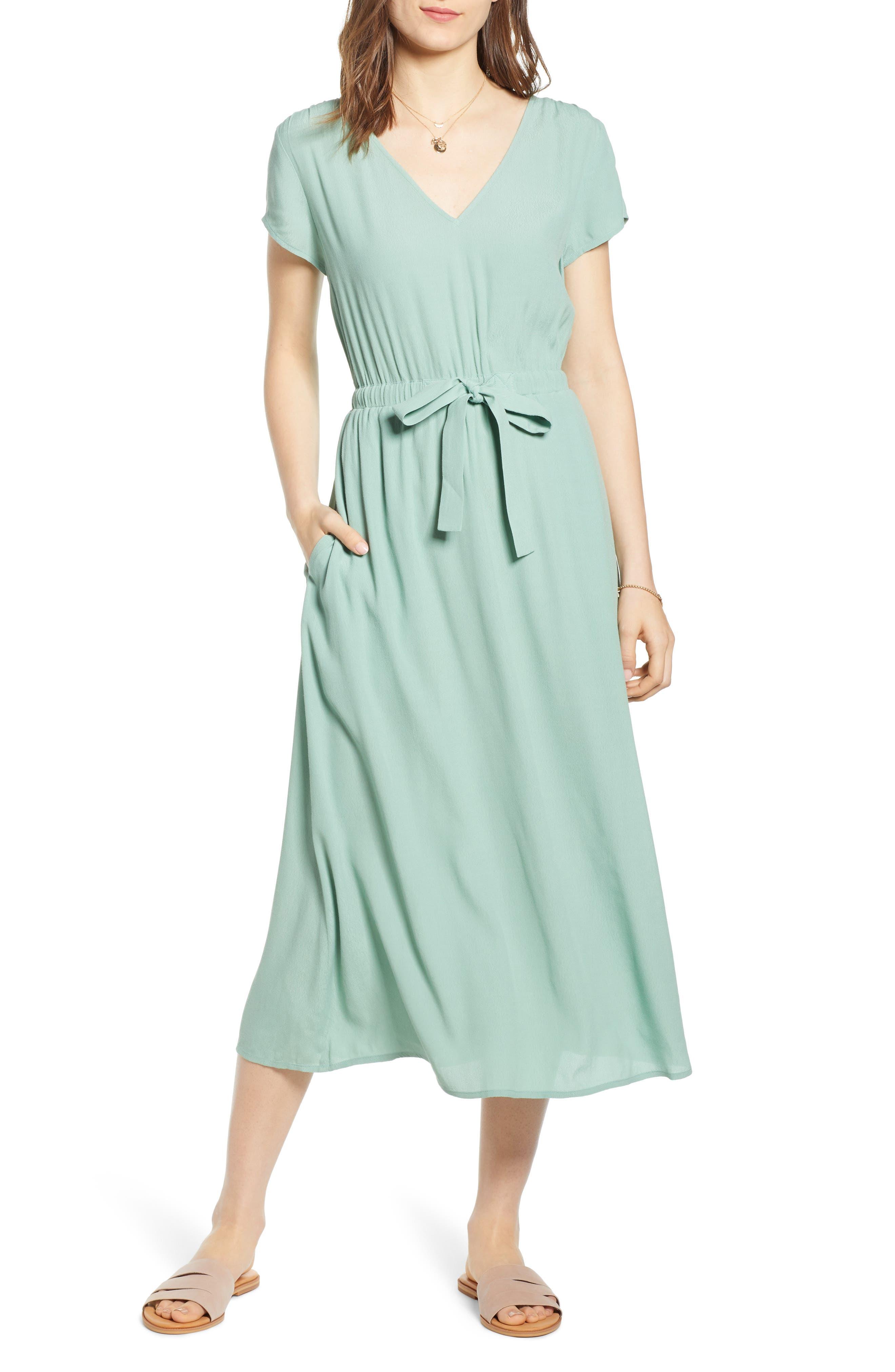 Treasure & Bond Cap Sleeve Midi Dress, Green