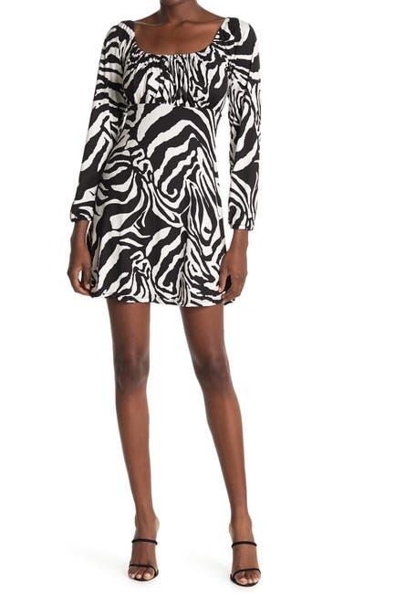 Image of Velvet Torch Floral Long Sleeve Jersey Mini Dress