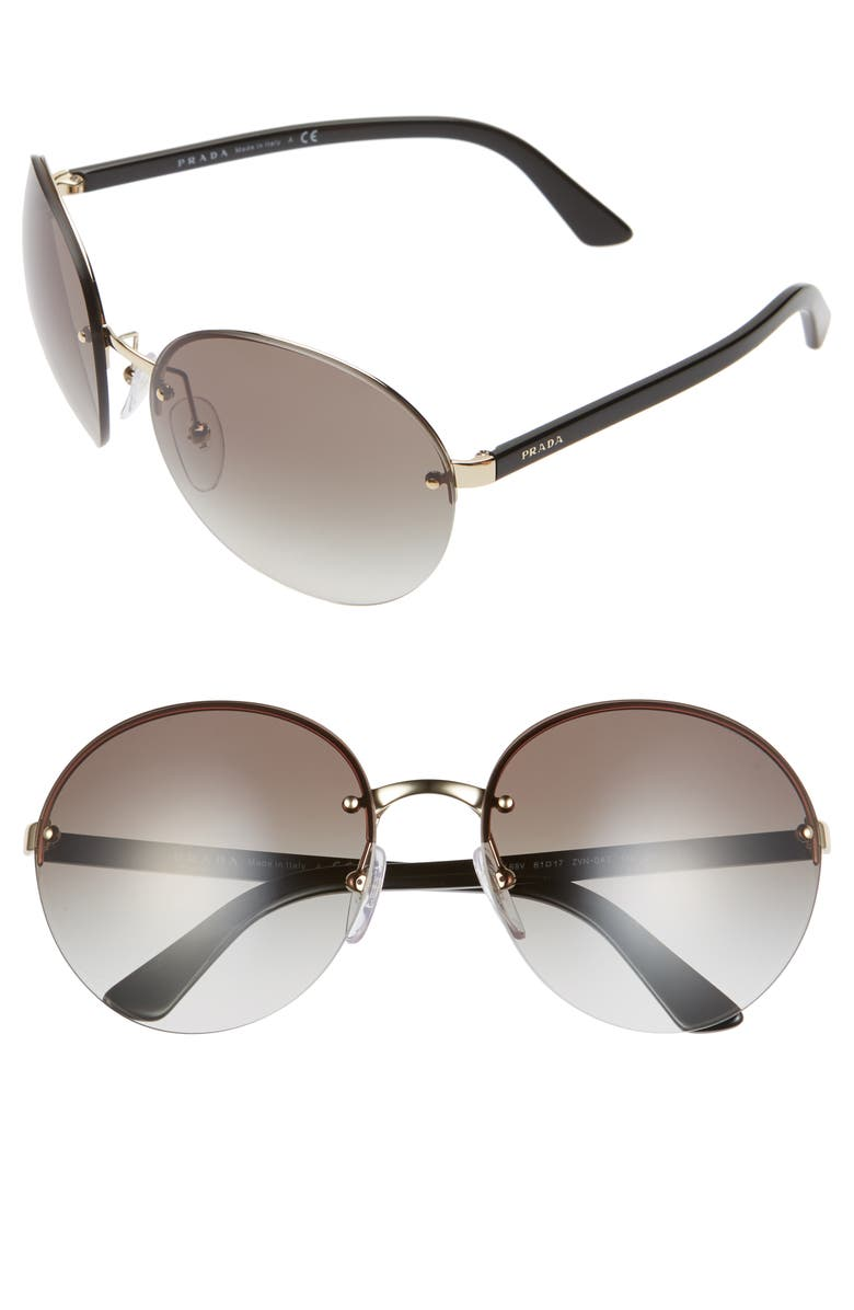 PRADA 61mm Rimless Round Sunglasses, Main, color, BLACK/ GOLD/ GREY SOLID
