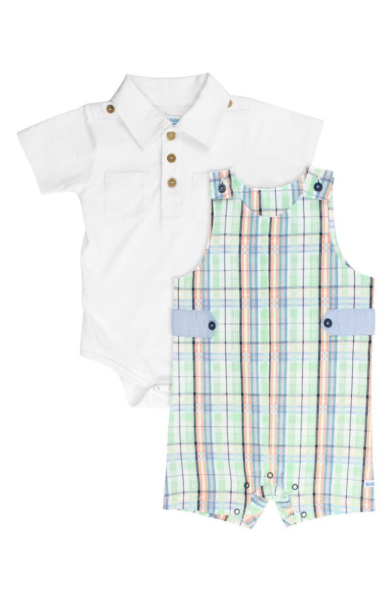 RUGGEDBUTTS Knox Bodysuit & Plaid Overalls Set, Main, color, 100