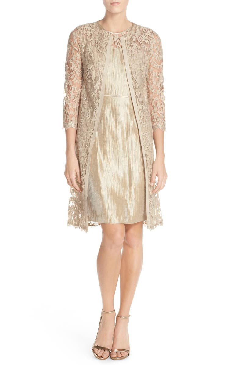 ADRIANNA PAPELL Embroidered Lace Illusion Yoke Sheath Dress &Topper, Main, color, 250