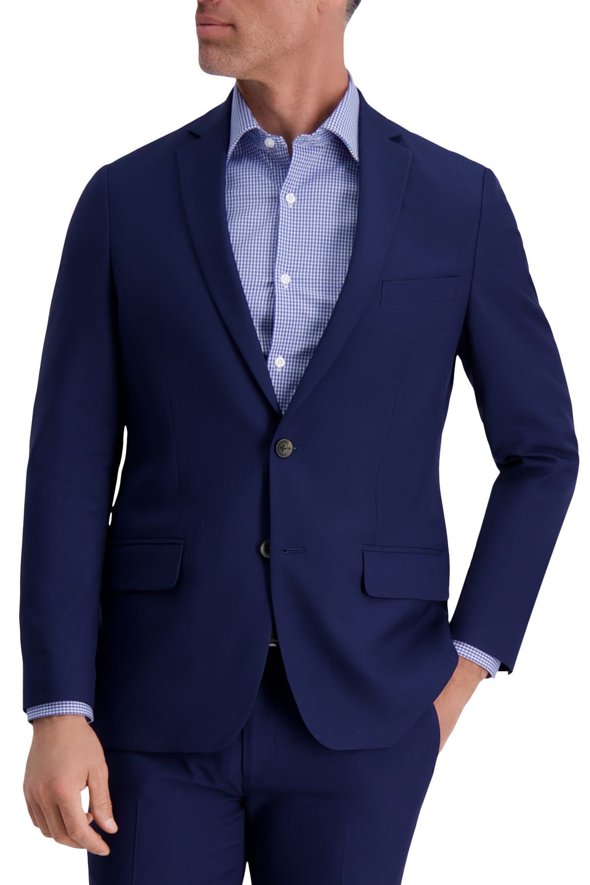 Image of Louis Raphael Slim Fit Stretch Striated Solid Two Button Jacket