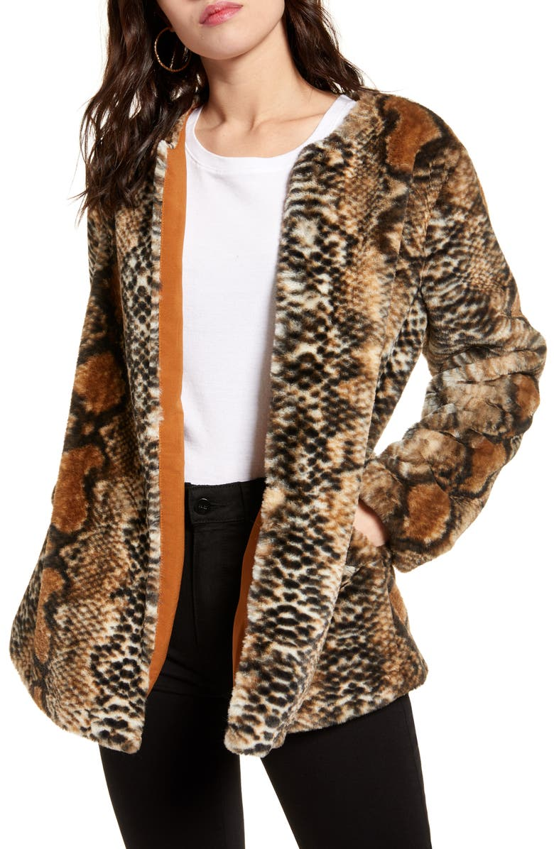 BAND OF GYPSIES Serpent Faux Fur Open Front Jacket, Main, color, SNAKE