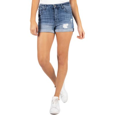 Kut From The Kloth Madeline Distressed Denim Boyfriend Shorts, Blue