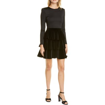 Alice + Olivia Jalen Long Sleeve Minidress, Black