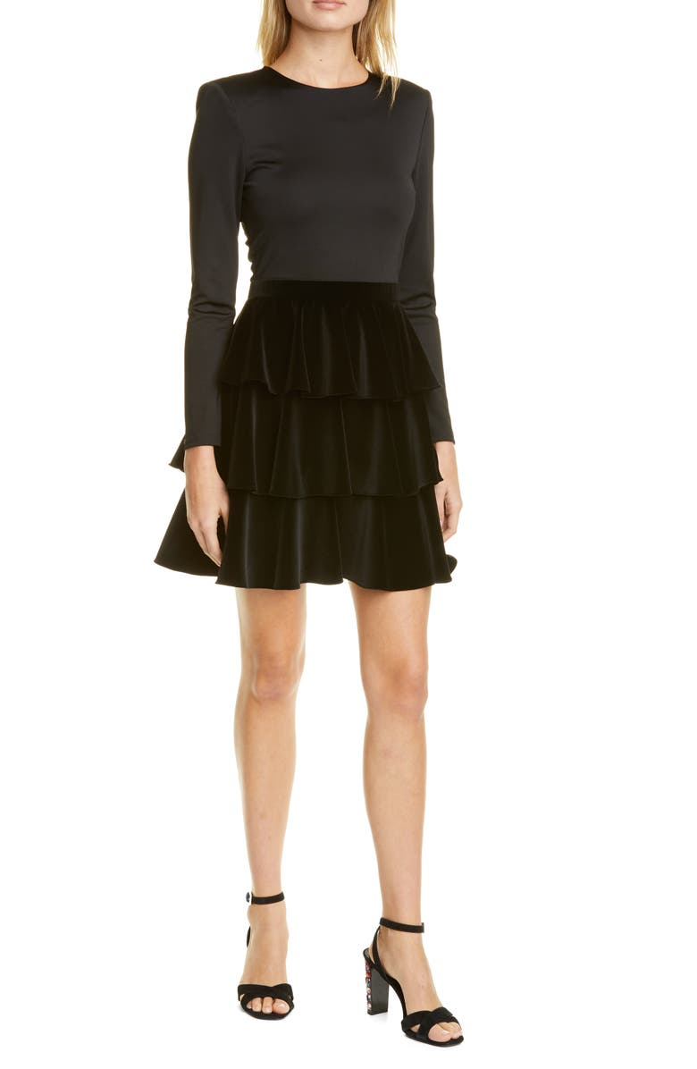 ALICE + OLIVIA Jalen Long Sleeve Minidress, Main, color, BLACK