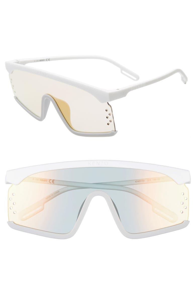 KENZO 140mm Shield Sunglasses, Main, color, WHITE/ GREY