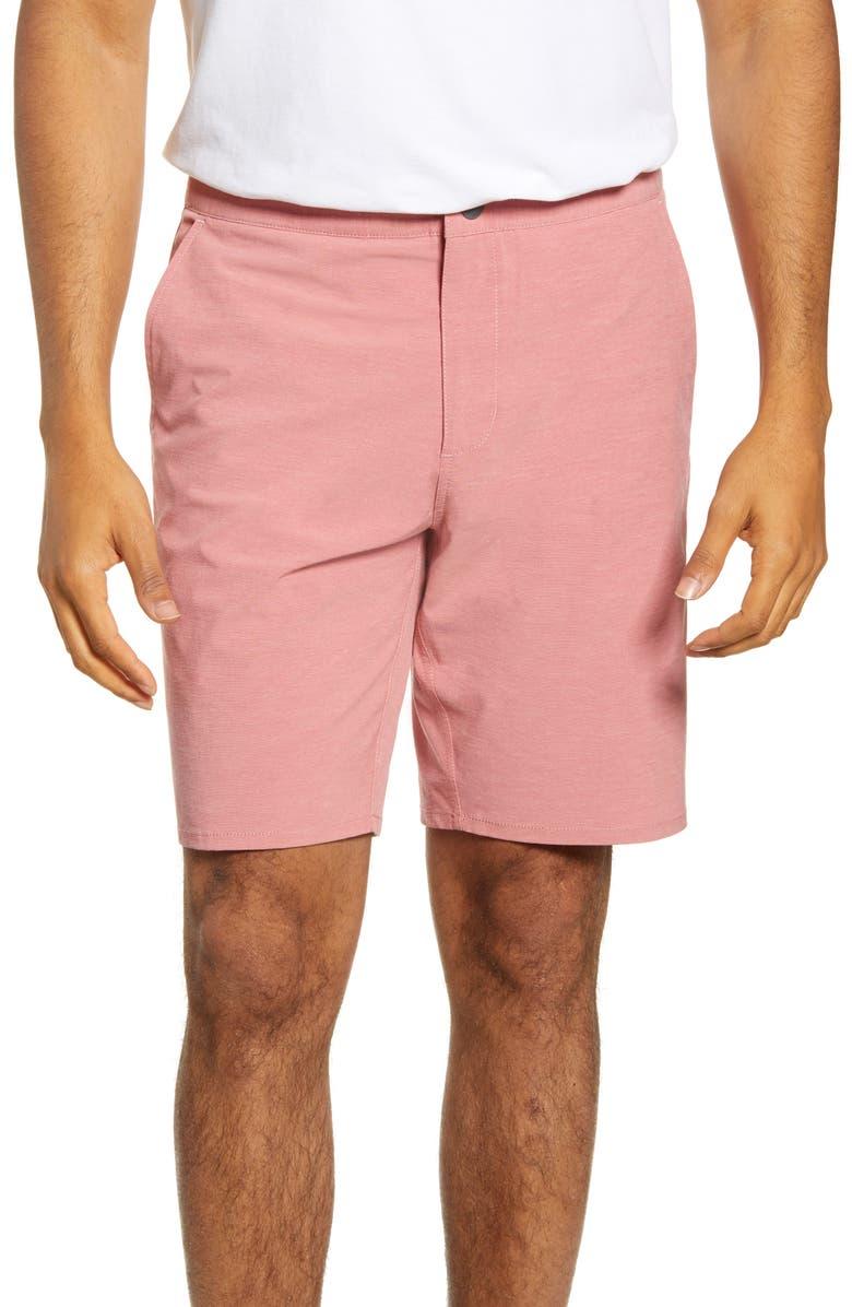 JOHNNIE-O Dawn 2 Dusk Hybrid Shorts, Main, color, MALIBU RED