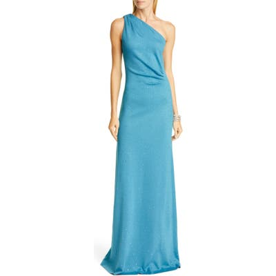 St. John Evening One-Shoulder Milano Knit Gown, (similar to 1) - Blue