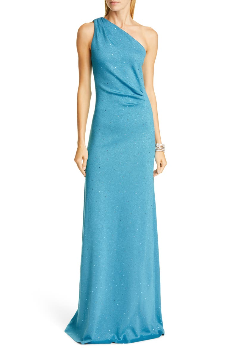 ST. JOHN EVENING One-Shoulder Milano Knit Gown, Main, color, CERULEAN