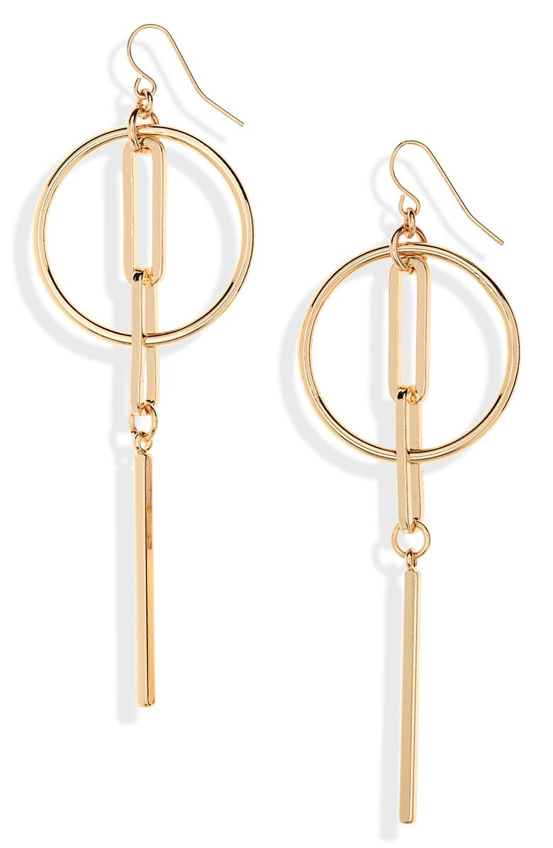 HALOGEN<SUP>®</SUP> Linked Hoop Linear Earrings, Main, color, GOLD