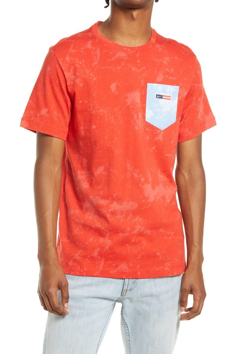 NIKE Sportswear Tie Dye Pocket T-Shirt, Main, color, CHILI RED/ LOBSTER