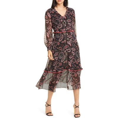 Ted Baker London Colour By Numbers Limeri Long Sleeve Dress, (fits like 12 US) - Black