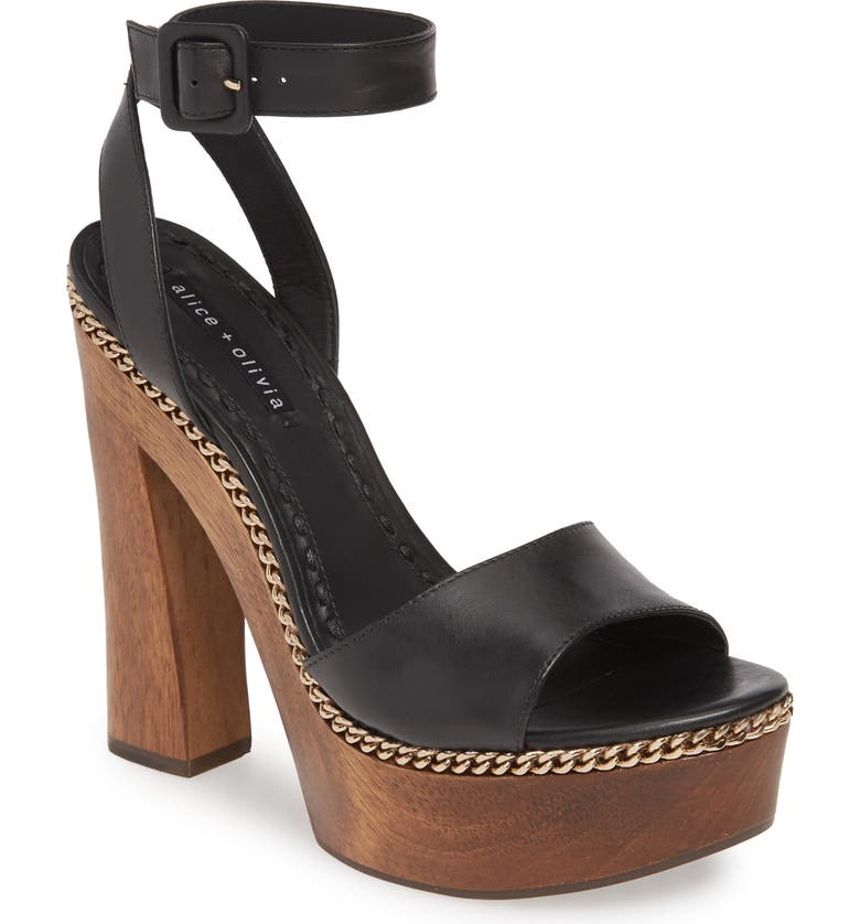 ALICE + OLIVIA Faria Platform Sandal, Main, color, BLACK
