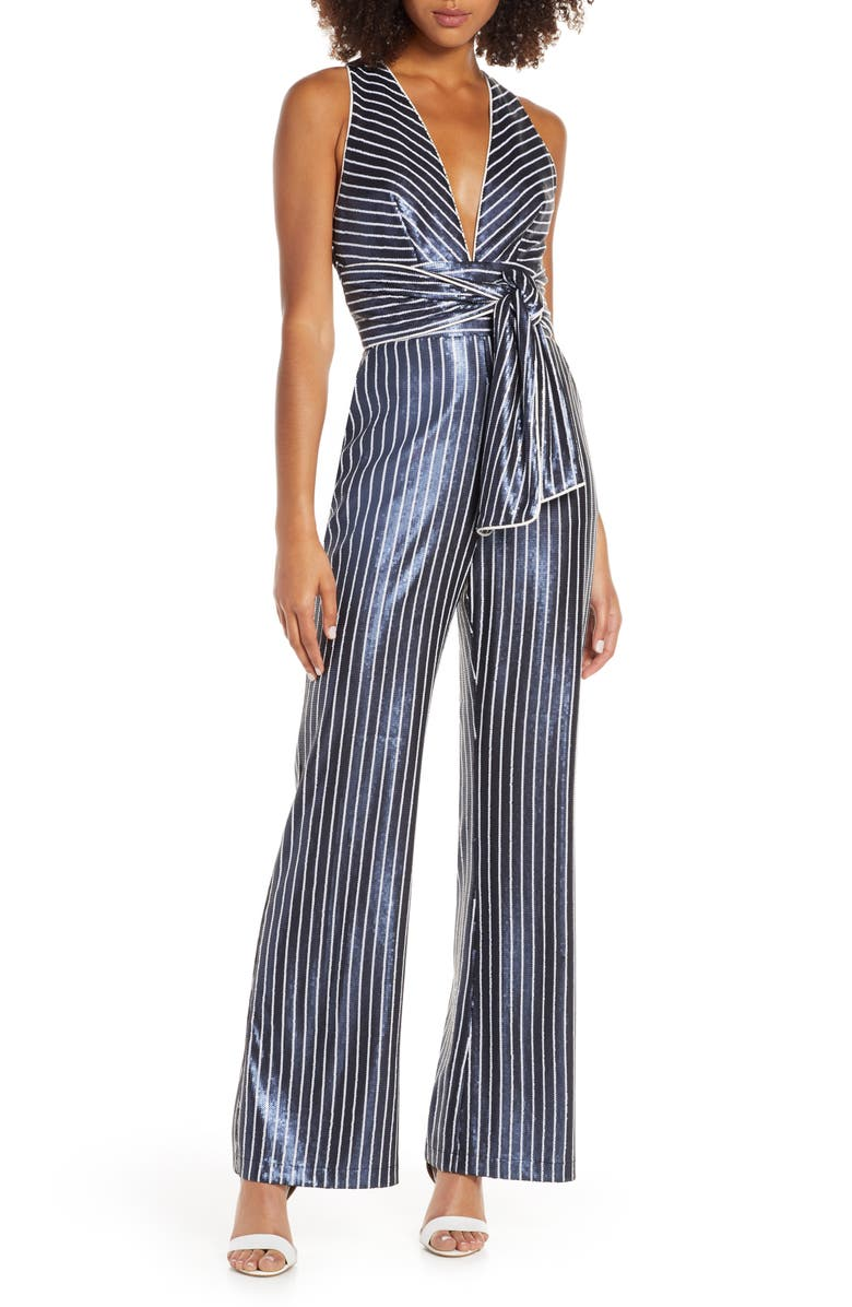 HARLYN Sequin Stripe Wide Leg Jumpsuit, Main, color, NAVY/ WHITE