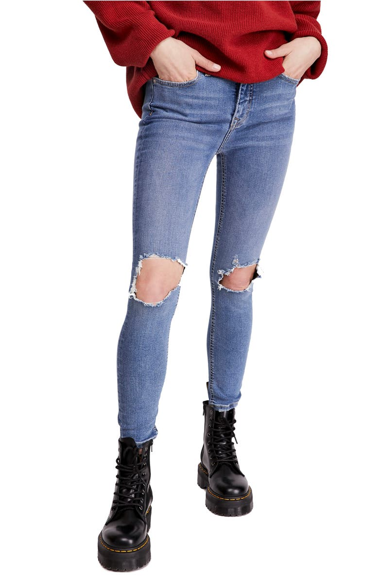 FREE PEOPLE Ripped High Waist Skinny Jeans, Main, color, 410