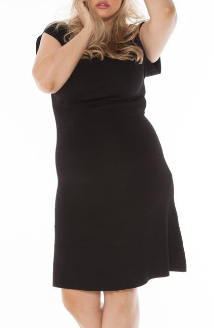 Image of SLINK JEANS Cap Sleeve A-Line Sweater Dress