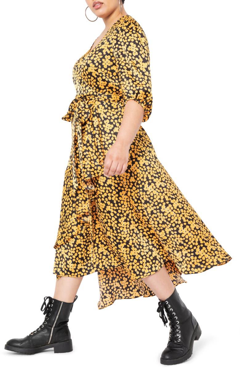 ELOQUII Print Wrap Dress, Main, color, IPOPPY