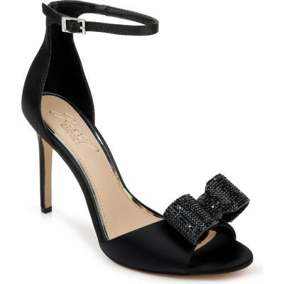Jewel Badgley Mischka Urania Crystal Bow Ankle Strap Sandal, Black