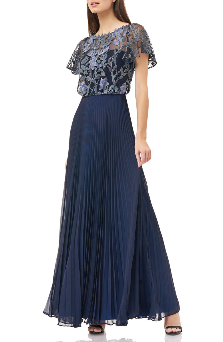 JS COLLECTIONS Embroidered Illusion Bodice Pleated Gown, Main, color, 400