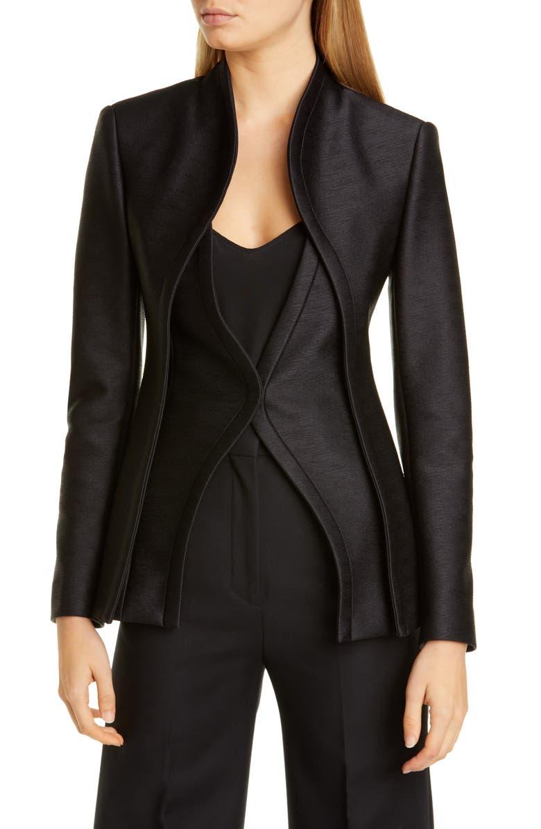 BRANDON MAXWELL Layered Bodice Jacket, Main, color, BLACK