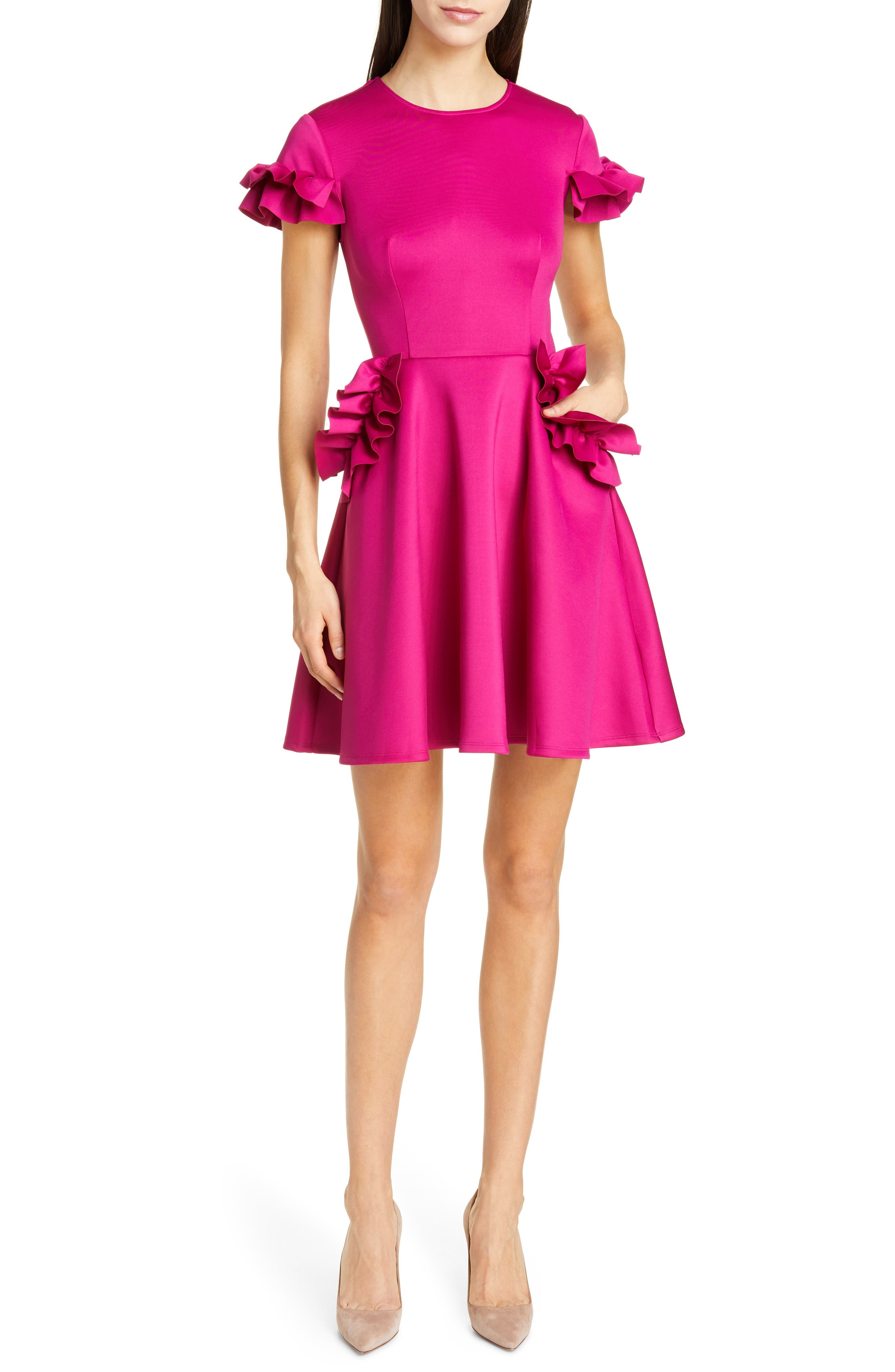 Ted Baker London Luuciee Ruffle Skater Dress, Pink