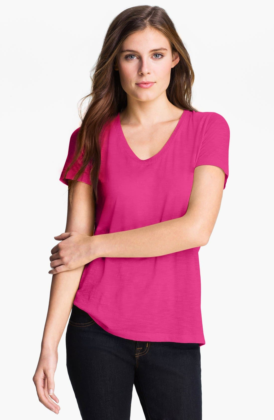 ,                             Relaxed Slub Knit U-Neck Tee,                             Main thumbnail 413, color,                             690